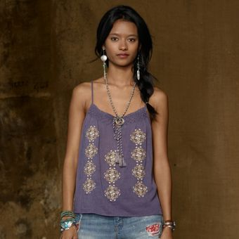 Ralph Lauren Embroidered Peasant Camisole - Lyst