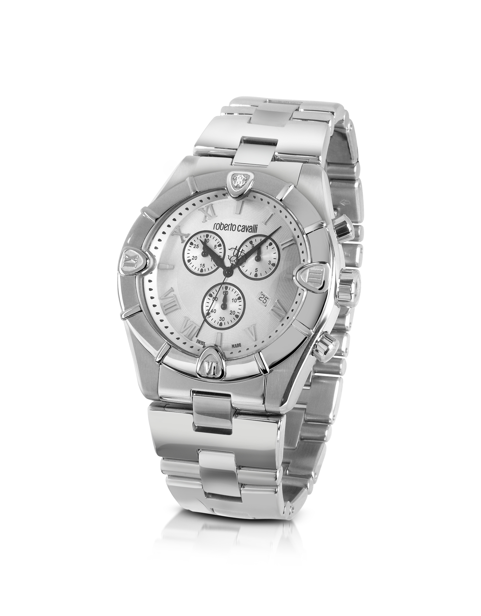roberto cavalli diamond time mens silver dial chronograph gallery