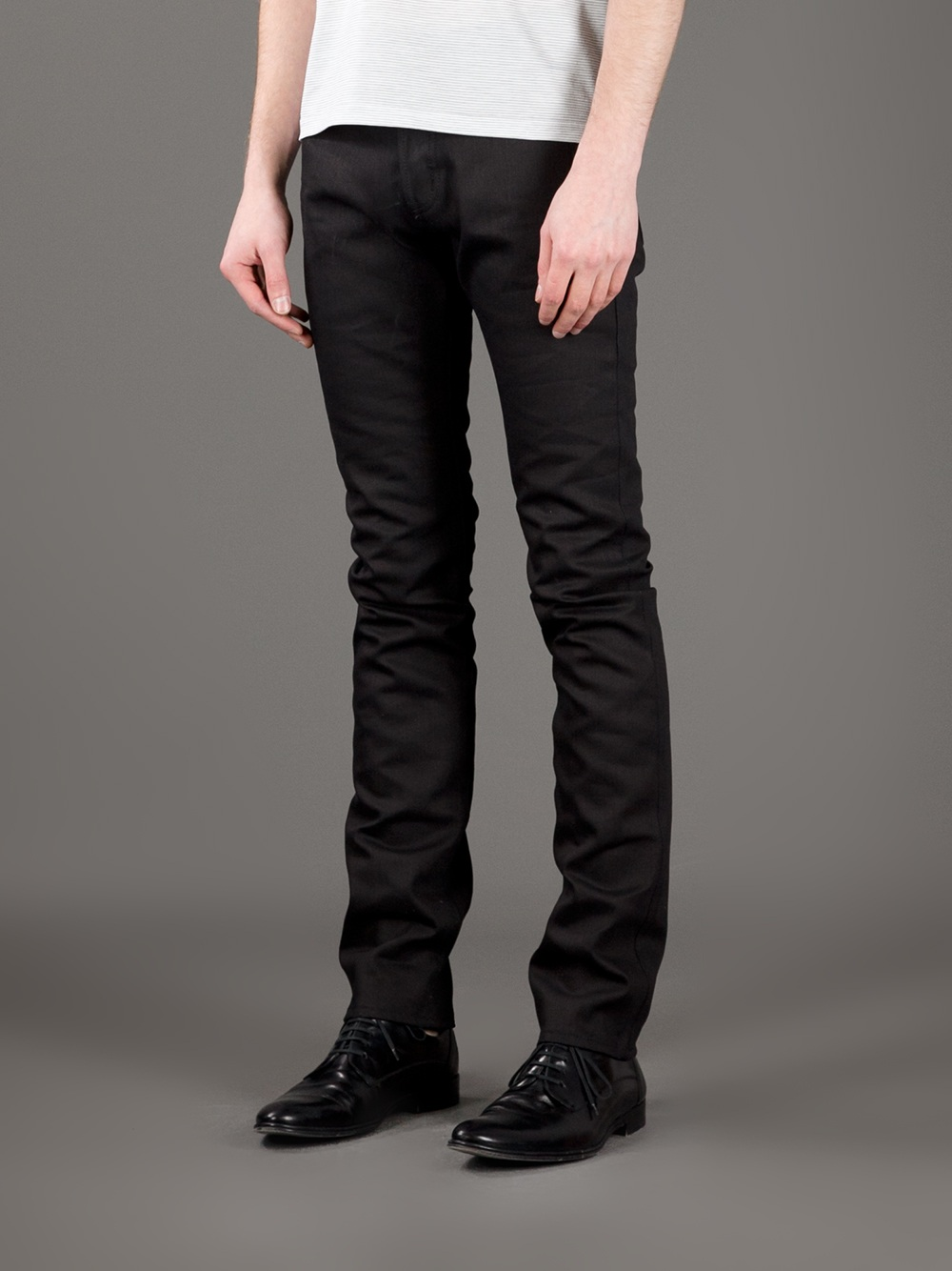 lyst saint laurent coated slim fit jeans in black for men. Black Bedroom Furniture Sets. Home Design Ideas