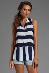 Splendid Magnolia Stripe Tank in Navy - Lyst