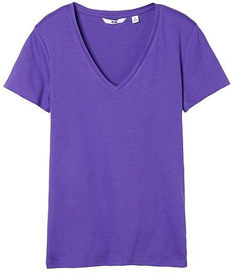 Uniqlo premium cotton v neck short sleeve tshirt in purple for Uniqlo premium t shirt