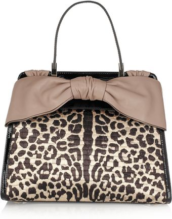 Valentino Animal Patterned Raffia and Patentleather Tote - Lyst