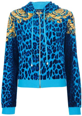 Versace Sporty Leopard Print Hooded Jacket - Lyst