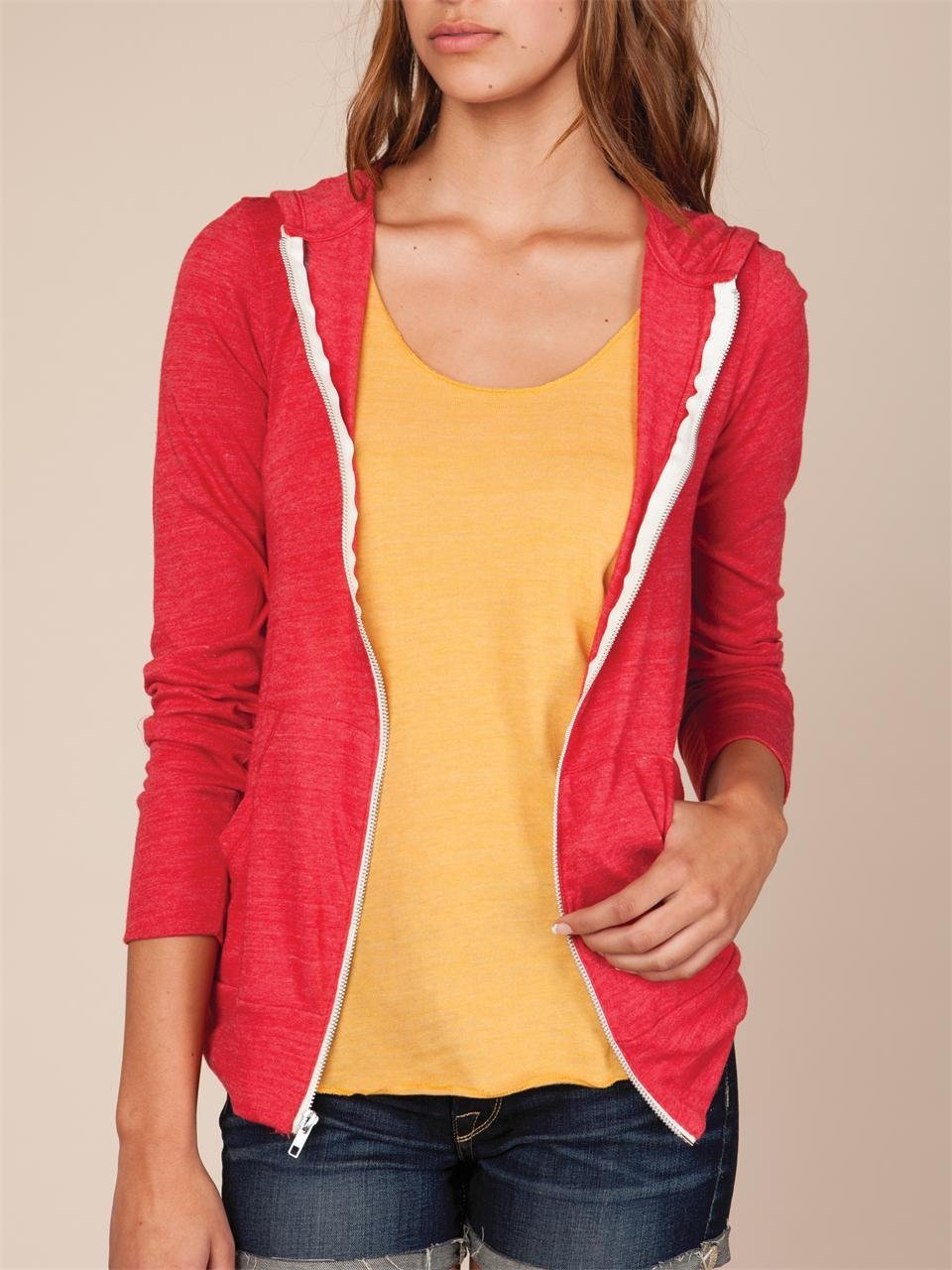 Lyst - Alternative Apparel Womens Ecoheather Zip Hoodie in Red 2275a3f569