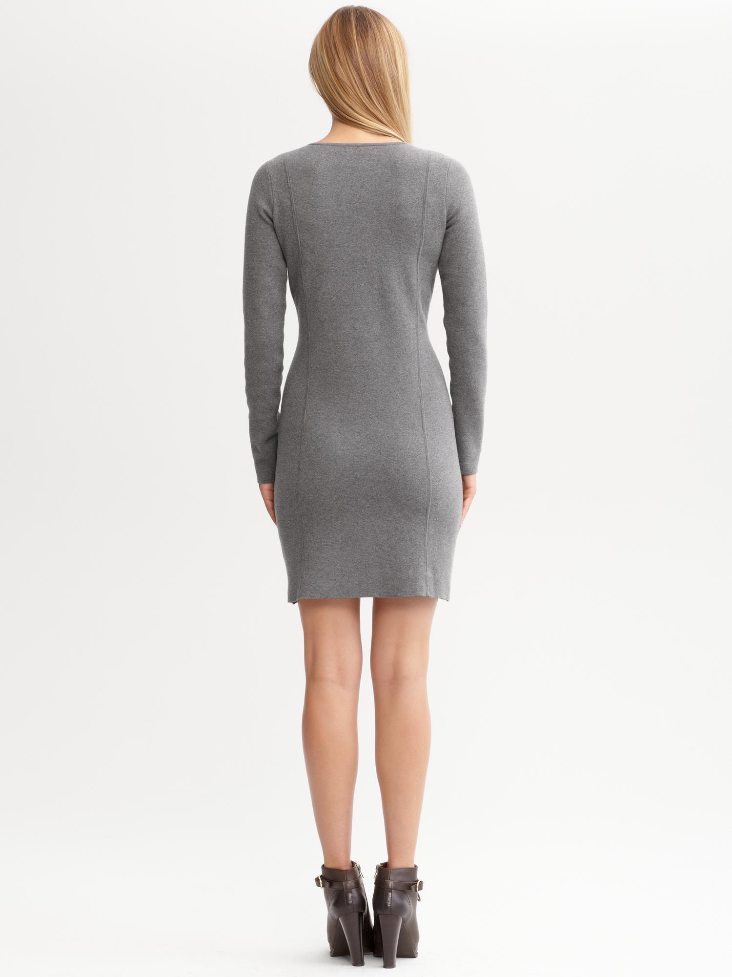 Banana Republic V Neck Sweater Dress In Gray Gracious