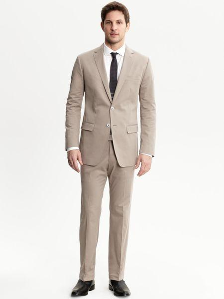 banana republic stretch cotton twobutton suit blazer in khaki for men