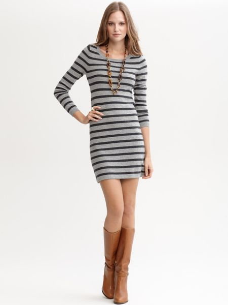 Banana Republic Striped Sweater Dress in Gray (shiny silver)