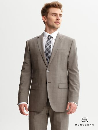 Banana Republic Br Monogram Taupe Plaid Suit Blazer - Lyst