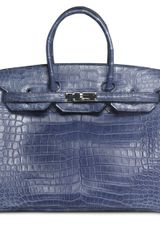 Hermes Small Blue Brighton Matte Porosus Crocodile Birkin with Palladium - Lyst
