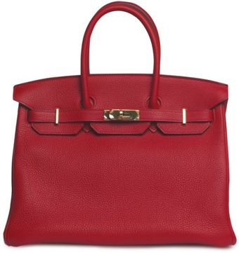 Hermes 35cm Rouge Casaque Clemence with Gold - Lyst