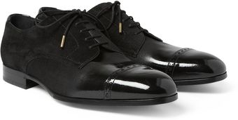 Jimmy Choo Prescott Patent Leather and Suede Derby Shoes - Lyst