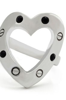 Libertine Rhodium Swarovski Crystal Heart Ring - Lyst