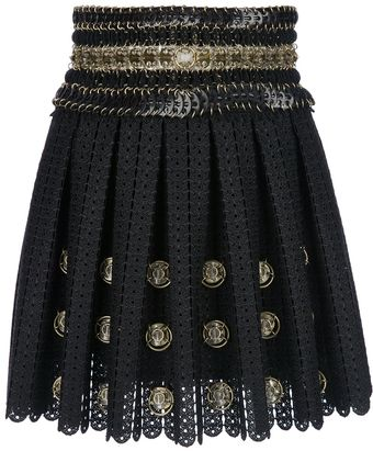 Paco Rabanne Embellished Crochet Mini Skirt - Lyst