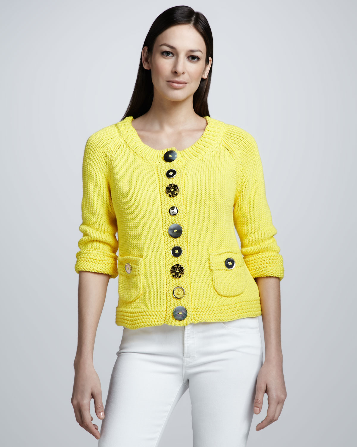 Pure handknit Lifestyle Cotton Cardigan in Yellow | Lyst