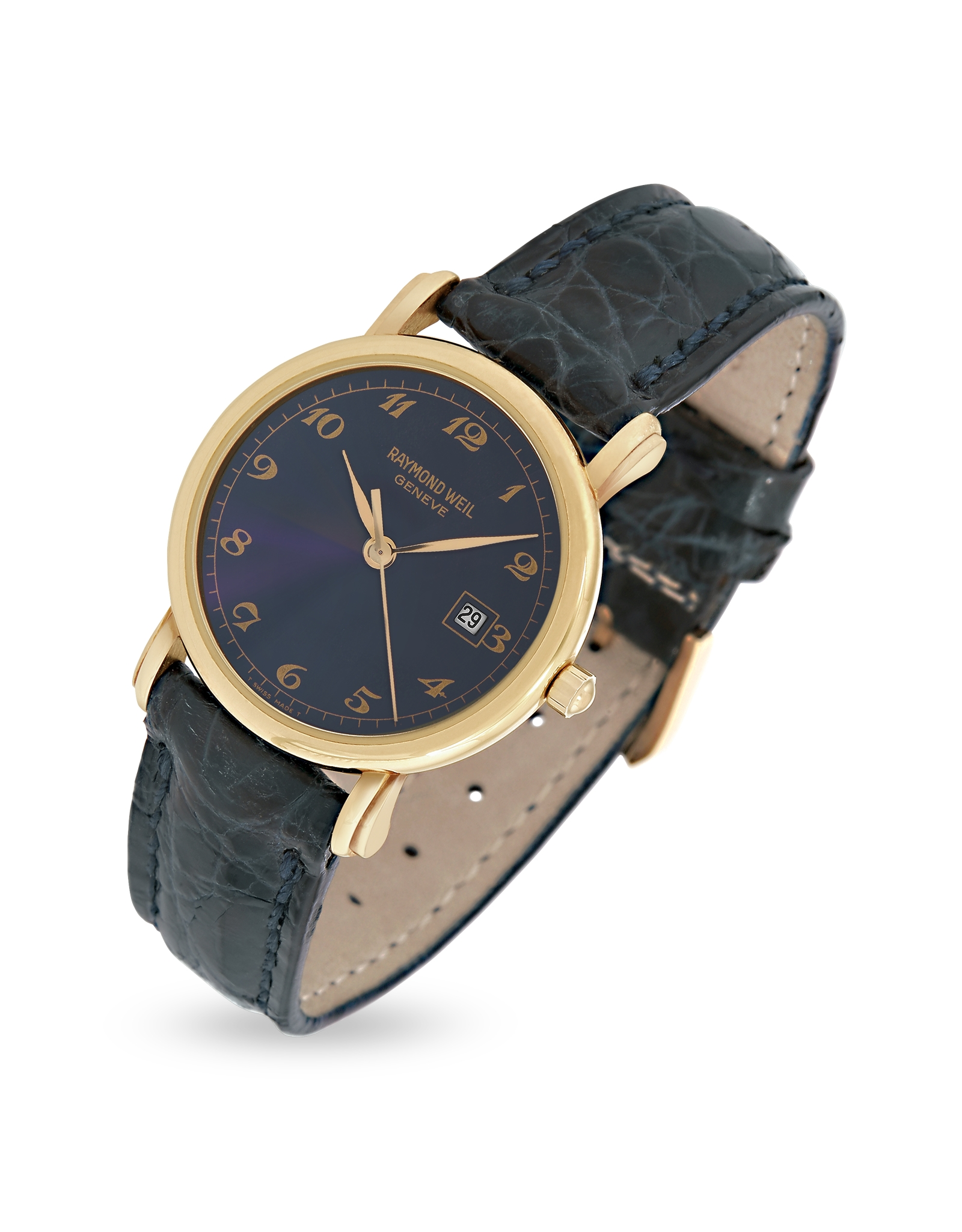 croco weil dress fullscreen product lyst leather raymond watch accessories blue watches view and dial gold