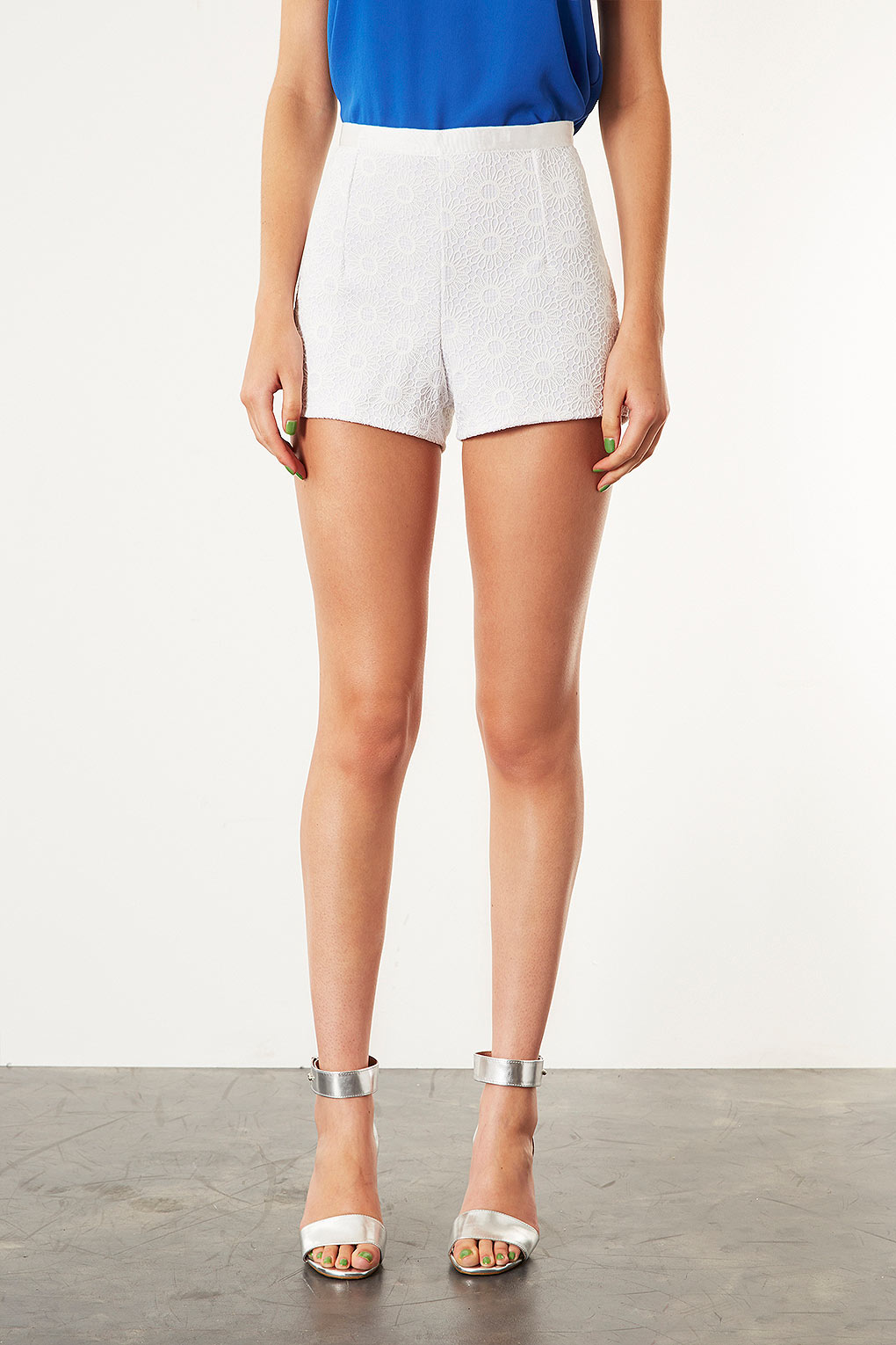 Topshop Lace High Waisted Shorts in Natural | Lyst