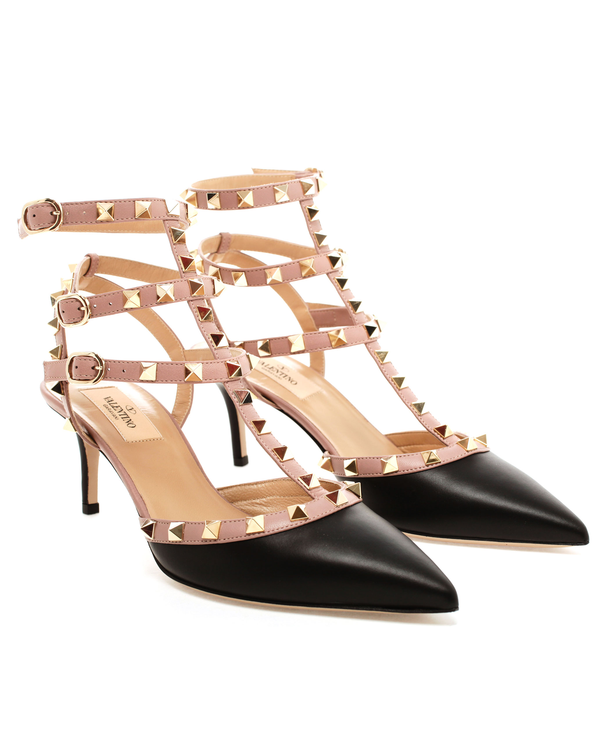 valentino studded leather kitten heels in black lyst