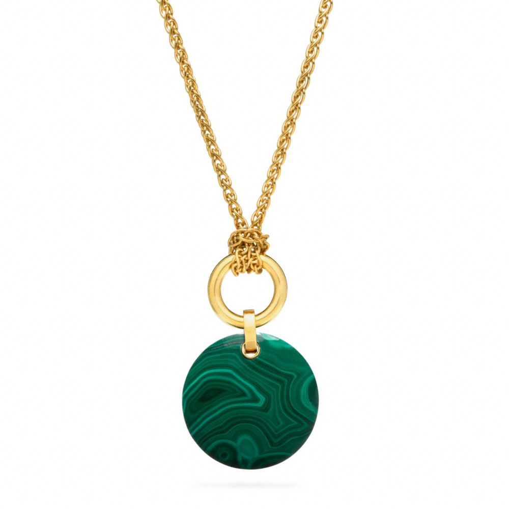 Lyst coach stone pendant necklace in green gallery aloadofball Choice Image