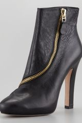 Diane Von Furstenberg Candy Zip Trim Leather Bootie - Lyst