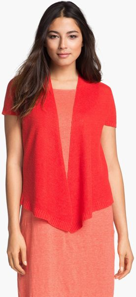 Short Sleeve Red Cardigan