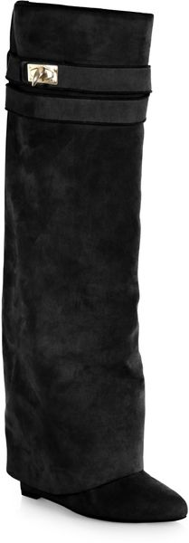 Givenchy Suede Knee High Sheath Boots - Lyst