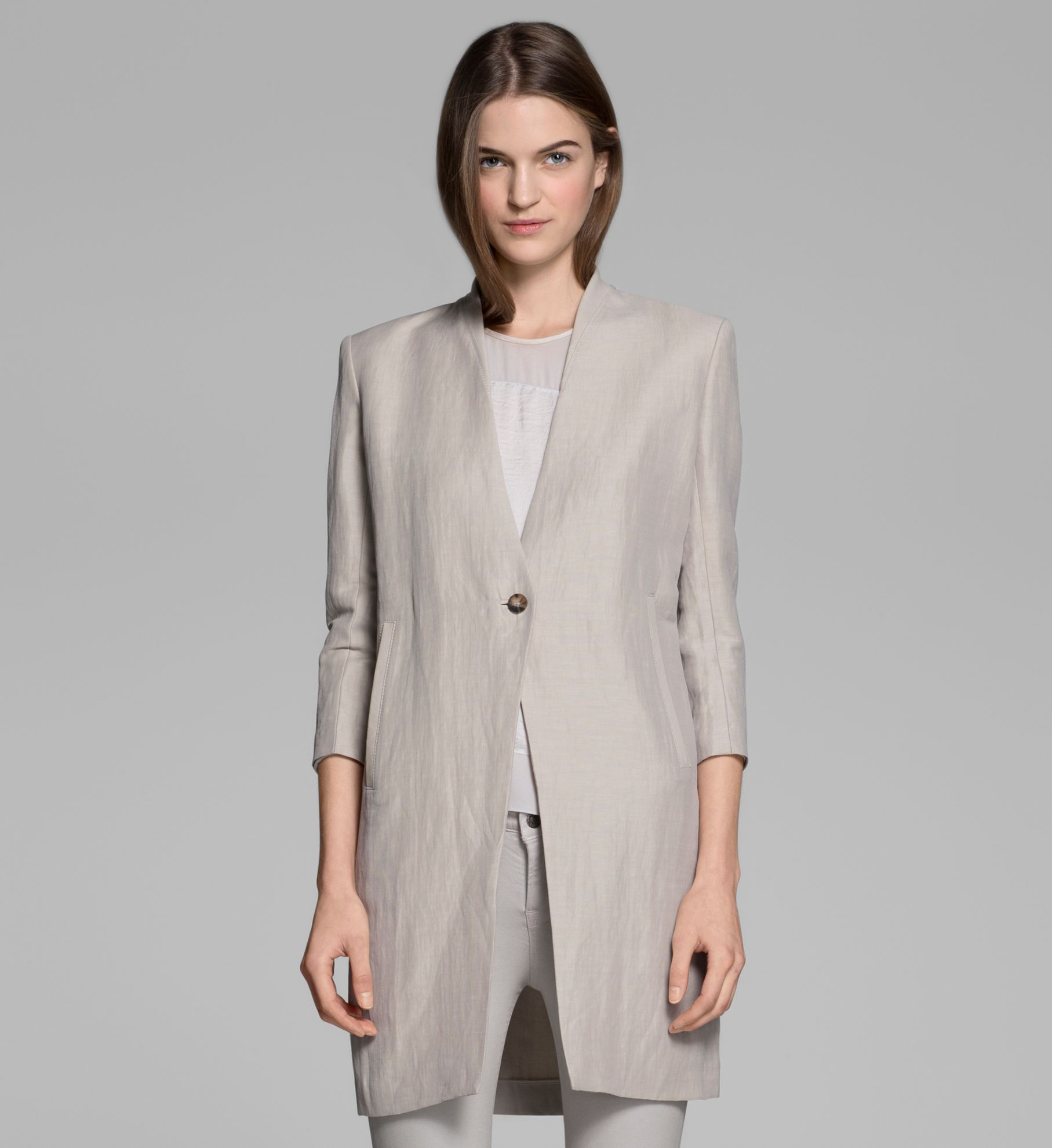 Helmut lang Matrix Linen Coat in Natural | Lyst