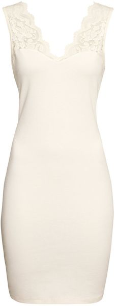 H&M Jersey Dress with Lace - Lyst