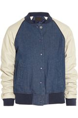 J.Crew Leather Sleeved Denim Varsity Jacket - Lyst