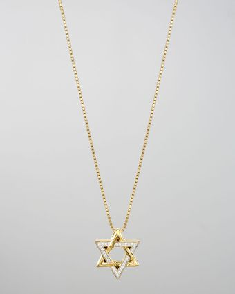 John Hardy 18k Gold Pave Diamond Star Of David Pendant Necklace - Lyst