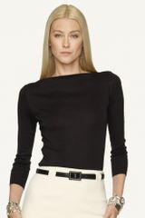 Ralph Lauren Black Label Cotton Boatneck Top - Lyst