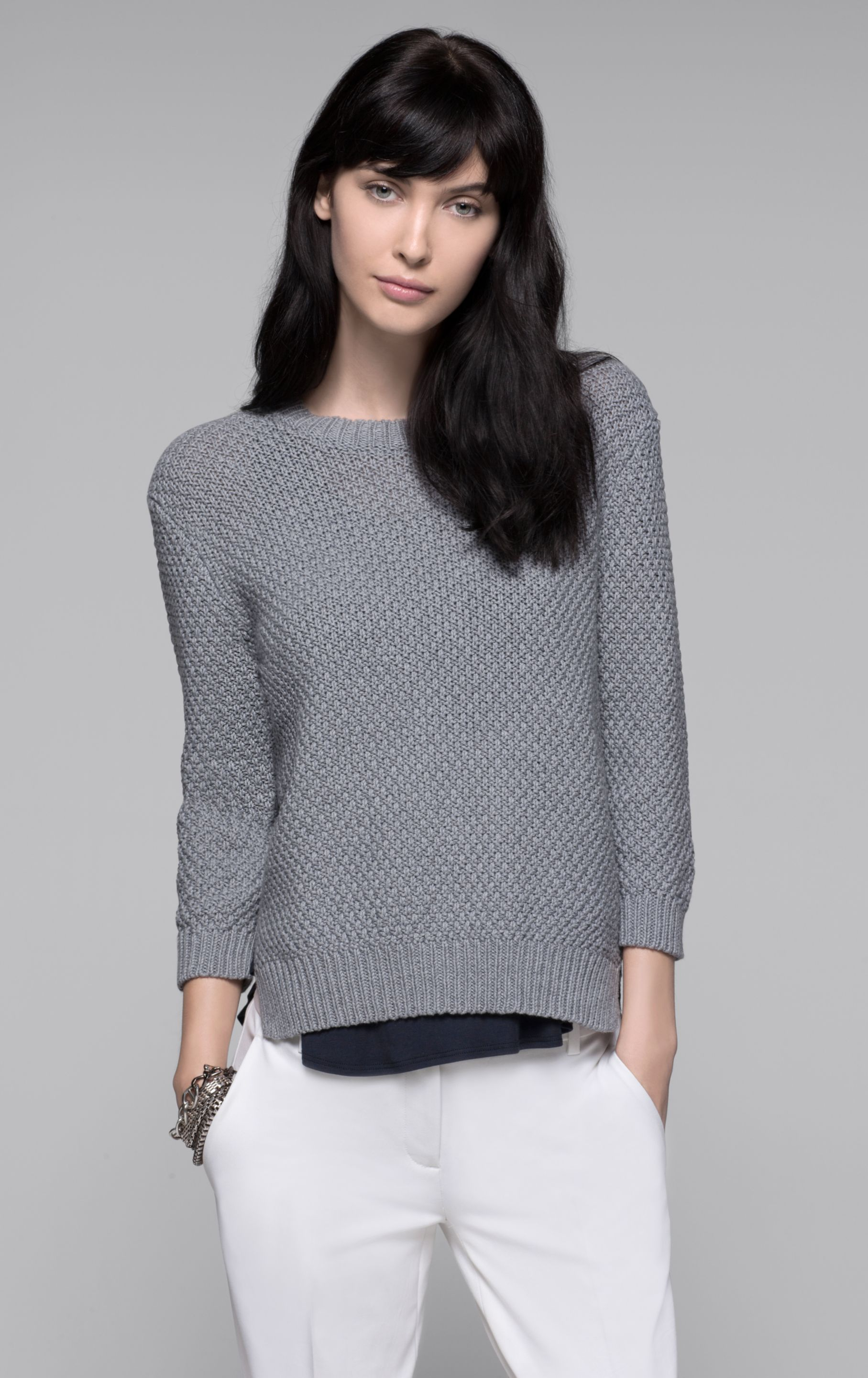 Theory Rainee Cotton Cashmere Sweater in Gray | Lyst