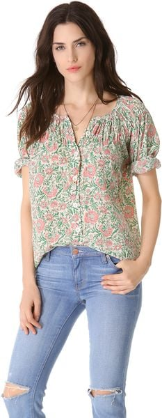 Tucker Wide Smocked Blouse - Lyst