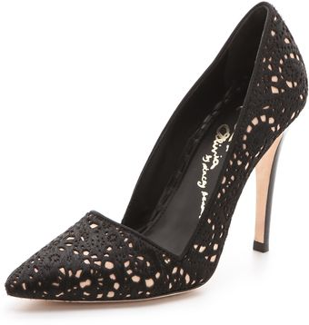 Alice + Olivia Dina Laser Cut Haircalf Pumps - Lyst