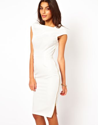 Asos Pencil Dress with Cowl Neck and Zip Side - Lyst