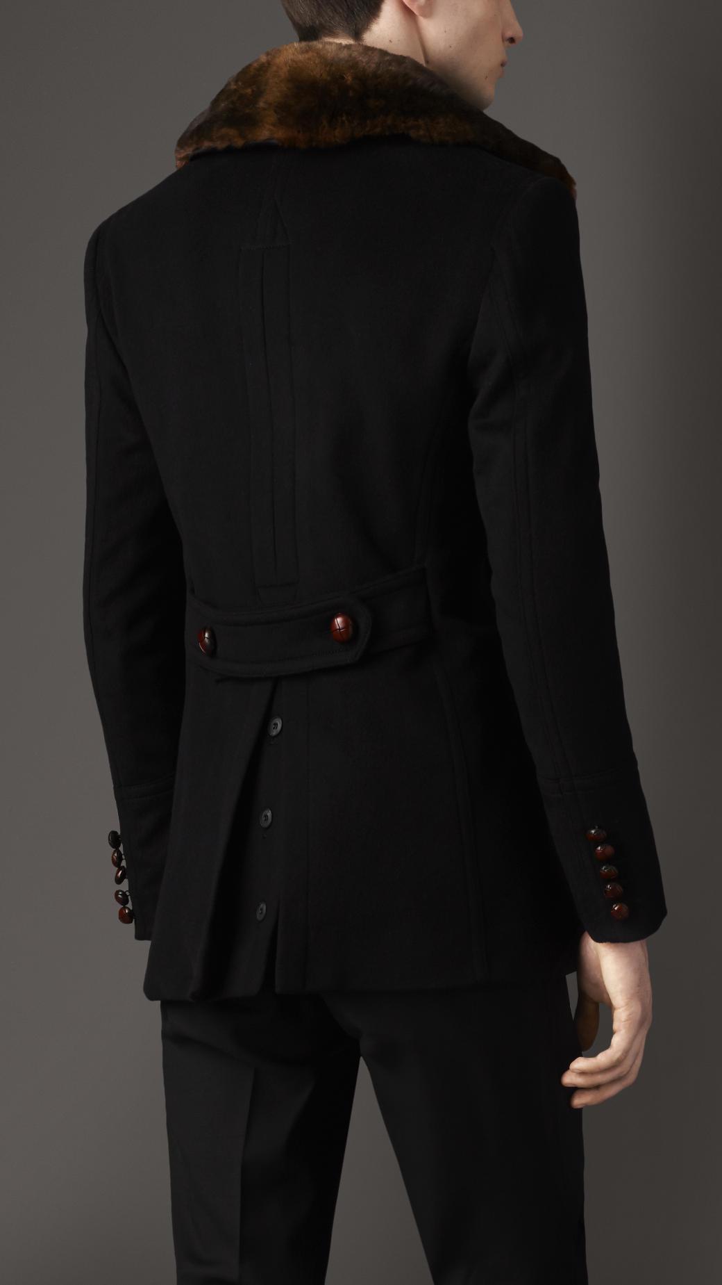 87ca281430a9 Best Lyst - Burberry Fur Collar Pea Coat in Black for Men TS36