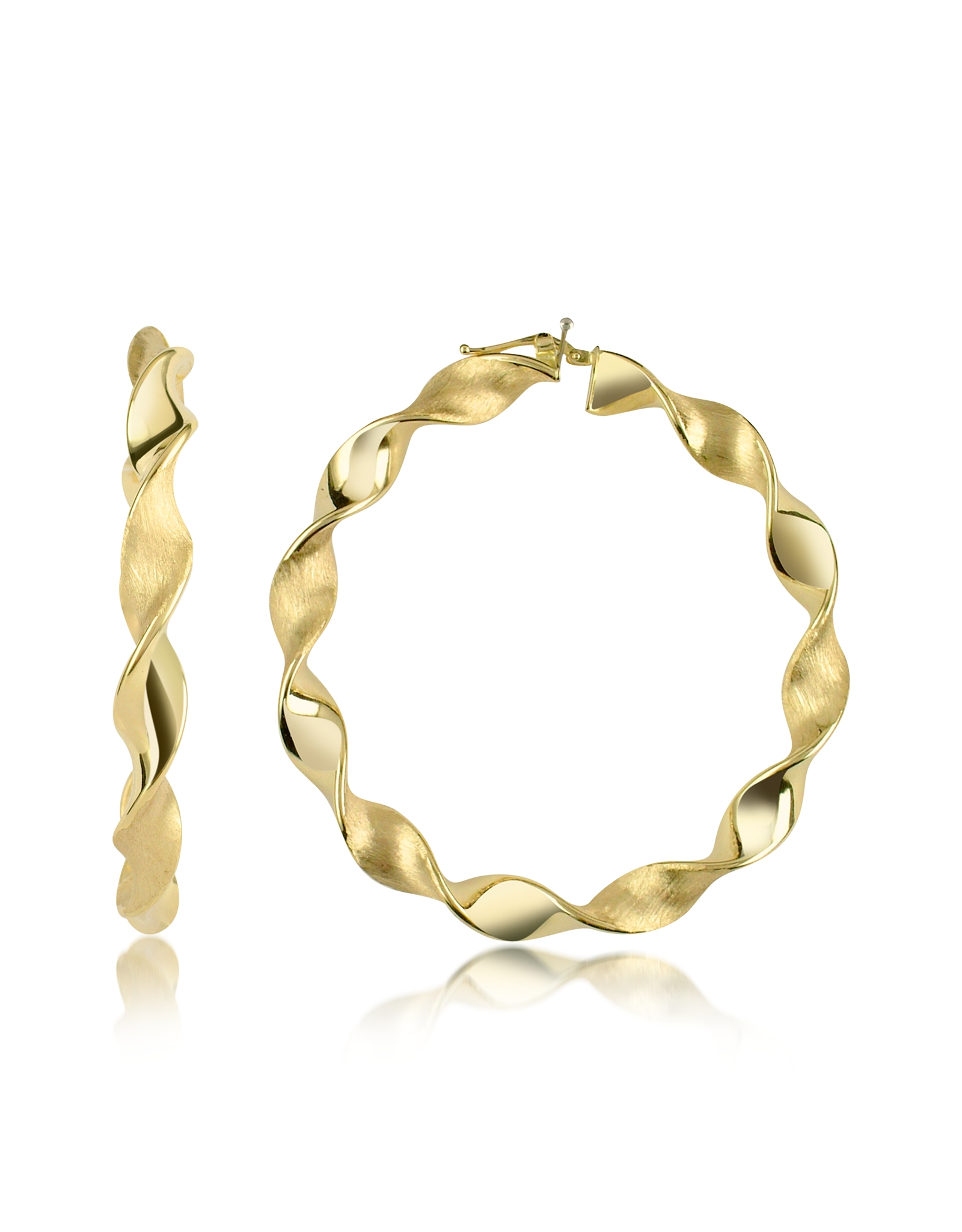 Lyst - Forzieri Large Twisting 18k Yellow Gold Hoop Earrings in Metallic
