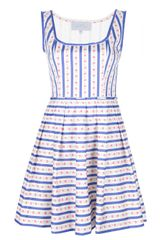 Luisa Beccaria Striped Empire Line Dress - Lyst
