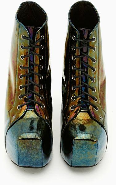 Nasty Gal Lita Platform Boot Oil Slick In Multicolor