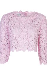 Oscar de la Renta Cropped Embroidered Blouse - Lyst