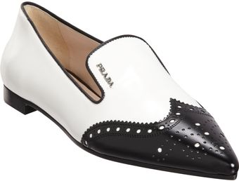 Prada Pointed Toe Brogue Loafer - Lyst
