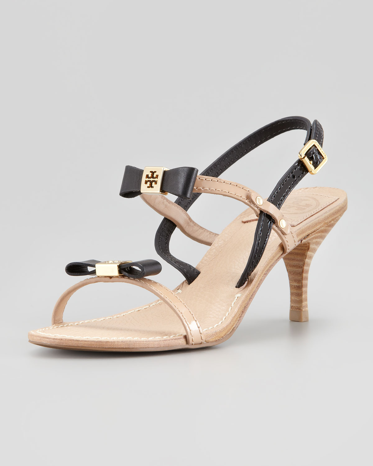 42aa7a174a6 ... low price lyst tory burch kailey two tone bow sandal in black 82492  04095
