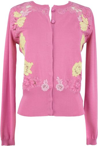 Valentino Crew Neck Cardigan with Multi Color Lace - Lyst