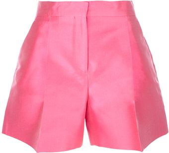 Valentino Pink Silk Pleated Shorts - Lyst