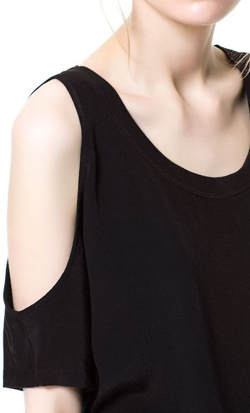 Zara Tshirt With Holes On The Shoulders In Black Lyst