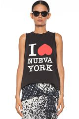 3.1 Phillip Lim Nueva Muscle Tank in Black - Lyst