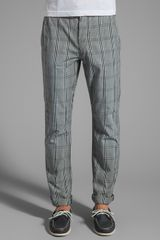 7 For All Mankind The Chino Mini Plaid in Gray - Lyst