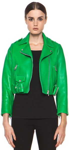 Acne Mape Leather Jacket in Green - Lyst