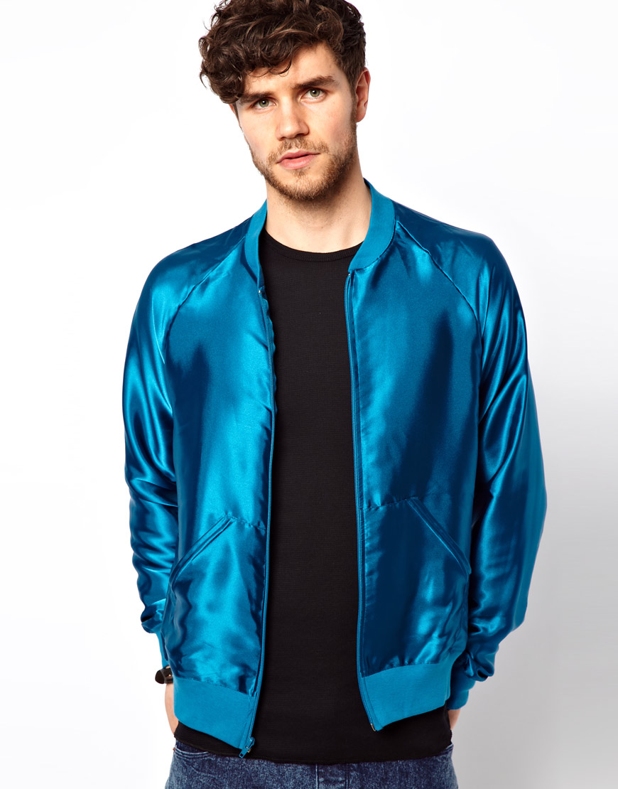 American apparel Lightweight Bomber Jacket in Blue for Men | Lyst
