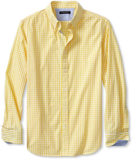 Banana republic soft wash gingham shirt in yellow for men for Mens yellow gingham shirt