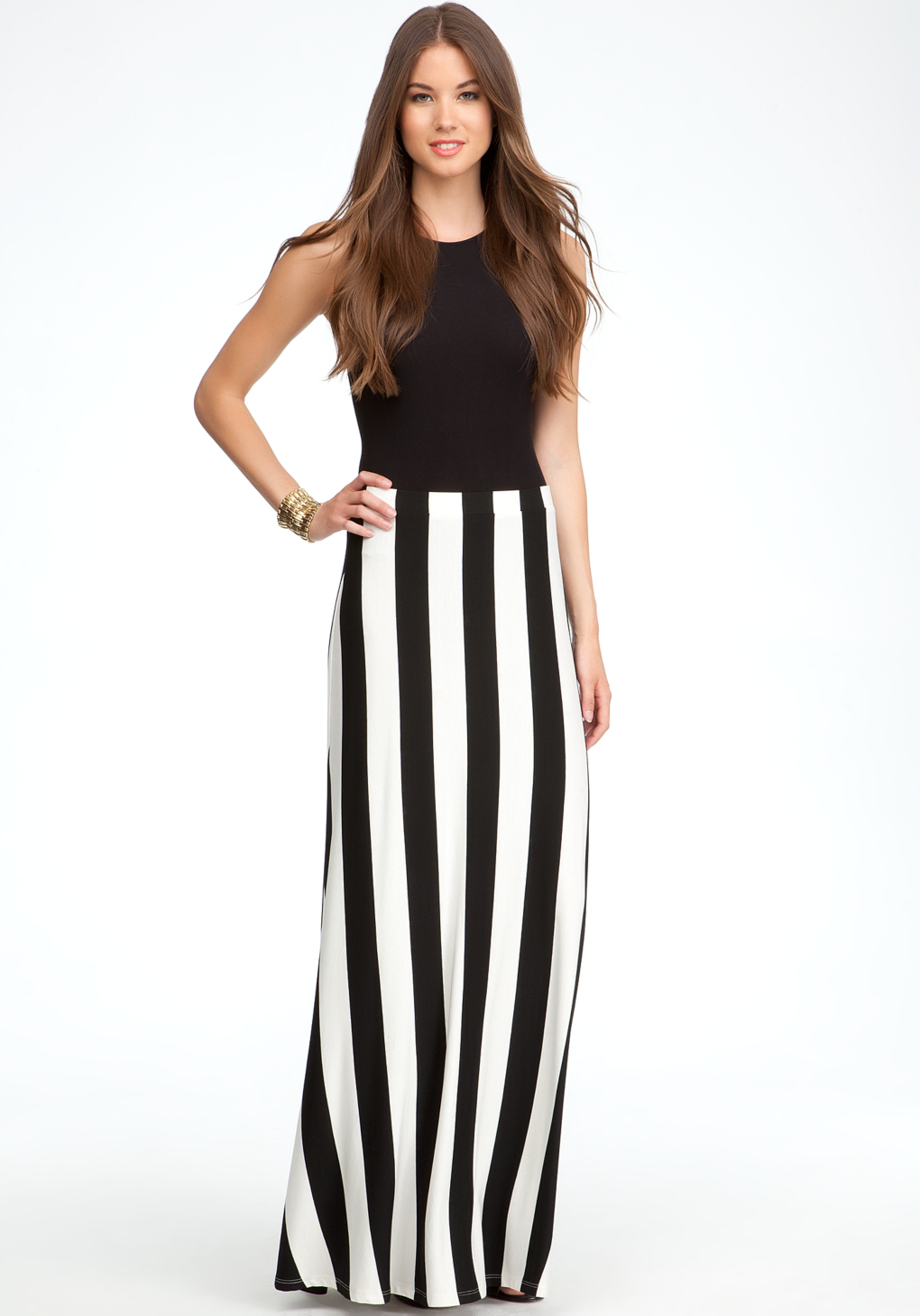 Bebe Vertical Rugby Stripe Maxi Skirt in Black | Lyst